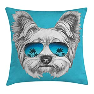 "Ambesonne Yorkie Throw Pillow Cushion Cover, Yorkshire Terrier Portrait with Cool Mirror Sunglasses Hand Drawn Animal Art, Decorative Square Accent Pillow Case, 18"" X 18"", White Blue 27"