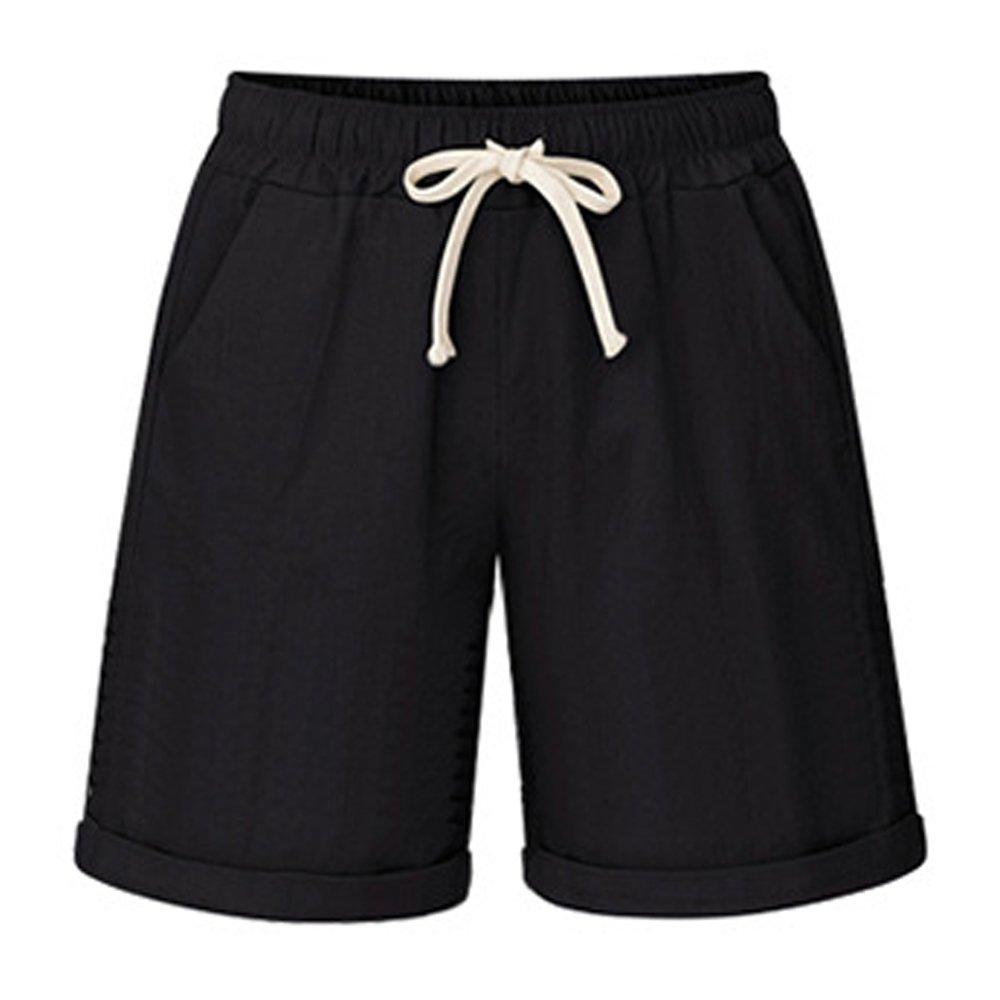 Women's Drawstring Elastic Waist Casual Comfy Cotton Linen Knee Length Bermuda Shorts Plus Size Black Tag 8XL-US 18W-20W