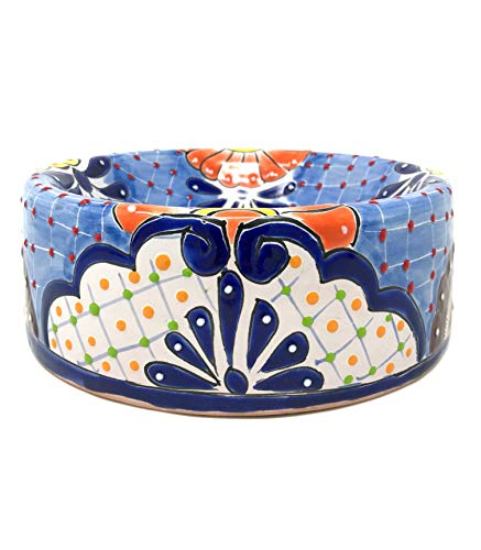 Mexican Talavera Pottery 9 inch Round Hand Painted Extra Large Dog Bowl