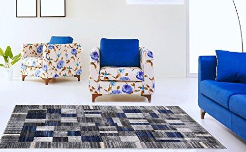 Rectangular Plush (ADGO Atlantic Collection Modern Geometric Rectangular Patchwork Soft Pile Contemporary Carpet Thick Plush Stain Fade Resistant Easy Clean Bedroom Living Room Floor Rug, Navy Dark Grey, 24