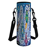 Water Bottle Sleeve Neoprene Bottle Cover,Board Game,Futuristic Robots Automaton Mechanical Characters Technology Factory Boys Print Decorative,Multicolor,Fit for Most of Water Bottles
