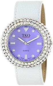 TKO ORLOGI Women's TK618-PW Purple White Crystal Leather Slap Watch