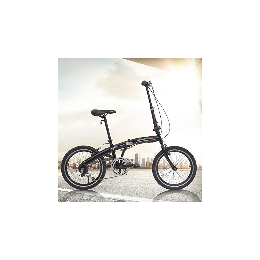 Murtisol Folding Bike 20'' Hybrid Bicycle Reinforced Frame Commuter Bike with Shimano 6 Speeds Derailleur, Durable Frame, Adjustable Seat in 4 Colors