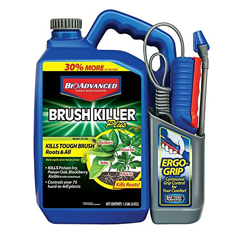 - BioAdvanced 704701A Brush Killer, 1.3-Gallon with Battery Sprayer, Ready-to-Use
