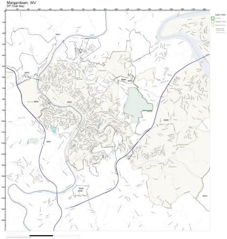 Morgantown Wv Zip Code Map Amazon.com: ZIP Code Wall Map of Morgantown, WV ZIP Code Map Not