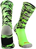 TCK Sports Elite Woodland Camo Crew Socks, Neon Green, Medium