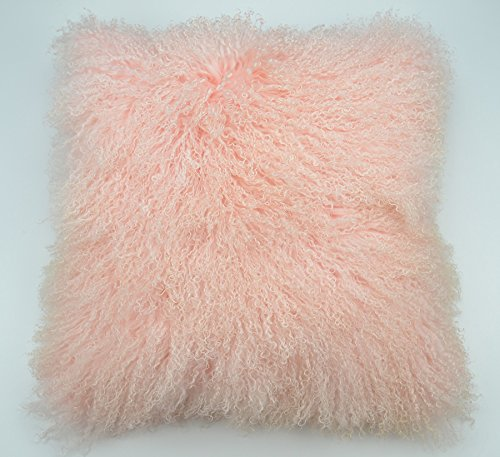 """Price comparison product image Limited Time SALE Real Tibetan Mongolian Lamb Fur Pillow Cover - 18"""" x 18"""" (Pale Pink)"""
