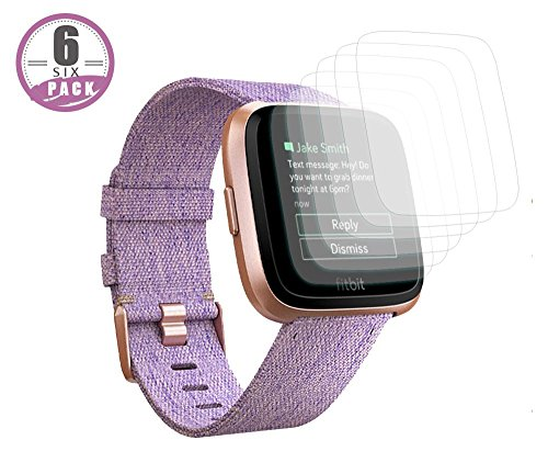 Elobeth Compatible Fitbit Versa Screen Protector [6-Pack], Fitbit Versa Accessories LiQuidSkin Full Coverage Screen Protector for Fitbit Versa Watch Clear HD Anti-Bubble Film