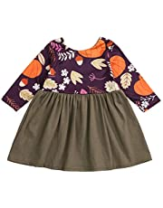SEVEN YOUNG Halloween Toddler Baby Girls Pumpkin Dresses Long Sleeve Dress Fall Clothes Outfits Set