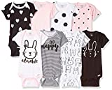 Gerber Baby Girls' 8-Pack Short-Sleeve Onesies Bodysuit, Bunny Newborn