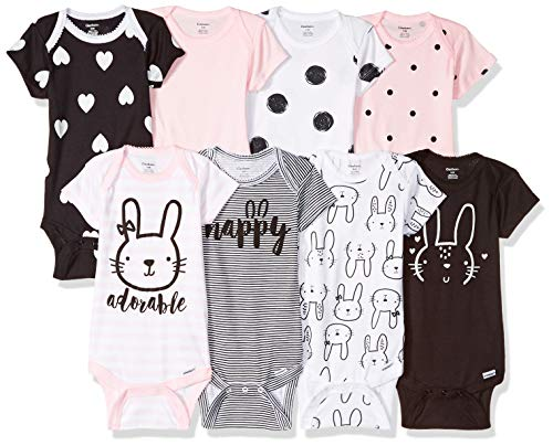 Gerber Baby Girls' 8-Pack Short-Sleeve Onesies Bodysuit, Bunny, - Mutli Apparel