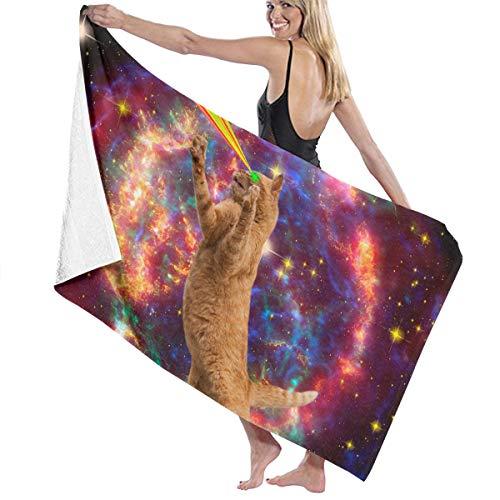 Stazary 80 cm X 130 cm Bath Towel,Space Lazer Rainbow Cat 100% Polyester Cashmere Soft Microfiber Beach Shower Towel