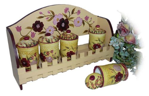 Floral Garden Hand-painted 5-piece Spice Rack