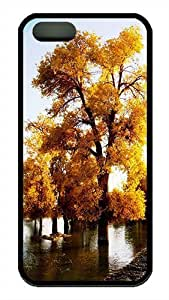 iPhone 5S Case, Nature Fall Golden Trees TPU Black Bumpers Case Cover for iPhone 5s and iPhone 5