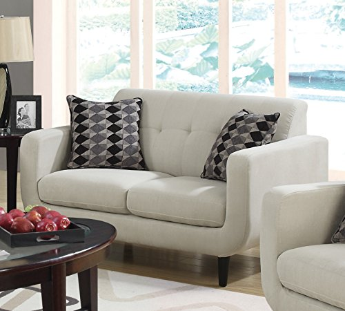 1PerfectChoice Stansall Ivory Linen Like Loveseat with 2 Pillows