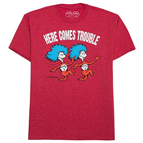Dr Seuss Red Polyester (Dr. Seuss Boys' Big Boys' Trouble T-Shirt Shirt, Red Heather, Large)