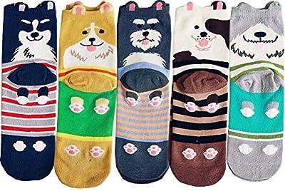 Searchself Women's Cotton Cute Cat Dog Socks