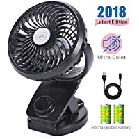 Mini Fan with Clip 4400mAh Rechargeable Battery Operated USB Desk Portable Personal Fan for Office,Home,Travel,Camping,Baby Stroller(Black)