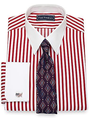 Paul Fredrick Men's Cotton Satin Stripe French Cuff Dress Shirt Red 19.0/37 (Satin Stripe Dress Shirt)