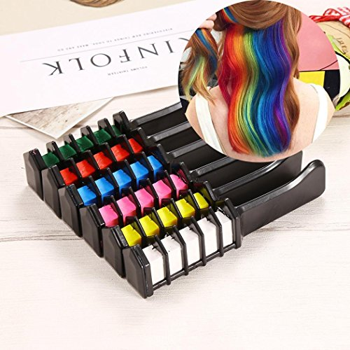 Hair Chalk Temporary Hair Color Comb Dye Salon Kit for Party Club Cosplay