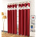 Soulful Creations Polyester Classic Curtain, Long Door – 9 Feet, Maroon, Pack of 2