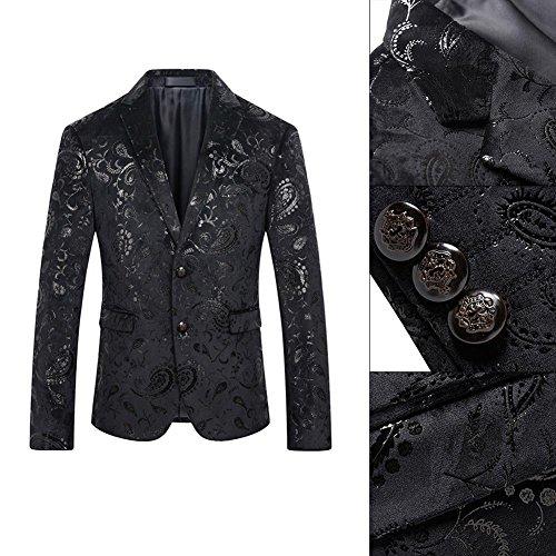 Hommes Occasionnels Mince Tenue En Forme Blazer Florale Robe De Soirée Costume Blackxl Veste De Base