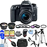 Canon EOS 77D EF-S 18-55 IS STM Kit With Flash, Tripods, Filter Kits, 2x 32GB SanDisk Memory Card + Much More #189C016 [International Version] (Pro Bundle)
