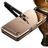 Vandot Sony Xperia M4 Aqua Mirror Case,Luxury Elegant Ultra Thin Slim Fit Metal Aluminum Frame Bumper Reflective Effect Hard Back Cover Pattern [Non-slip] [Shock Absorbent] Protective Skin Shell-Rose Gold