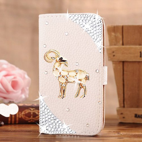 Berry Accessory(TM) Luxury 3D Bling Crystal Rhinestone Wallet Leather Purse Flip Card Pouch Stand Cover Case for Samsung Galaxy S6 Edge + Berry logo stand holder (gold goat)