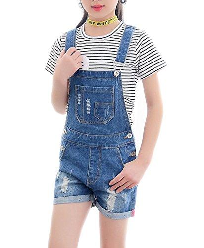 Big Girl's Kid Cotton Jumpsuit BF Cool Bib Jeans Ripped Romper Shortalls 1 Piece (11-12 Years, Dark Blue) by Sitmptol