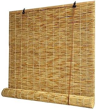 Persianas enrollables de madera, persianas verticales, protección solar y sombreado, fresco en verano, persianas de bambú para ventanas y puertas, persianas personalizadas (tamaño: 135 x 225 cm)
