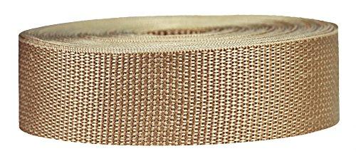 Strapworks Lightweight Polypropylene Webbing - Poly Strapping for Outdoor DIY Gear Repair, Pet Collars, Crafts - 1.5 Inch x 50 Yards - Khaki