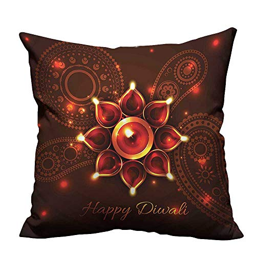 (YouXianHome Decorative Throw Pillow Case Paisley Design Backdrop with Beams and Diwali Wishes Candles Print Bronze Brown Ideal Decoration(Double-Sided Printing) 31.5x31.5 inch )