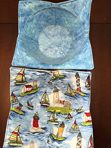MICROWAVE BOWL COZY Sailboats  Lighthouses,handmade,Hot Cold Bowl Cozie,Fabric Trivet,Hot pad,Pot Holder,All cotton,Reversible,Washable