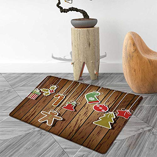 - Christmas Door Mats Area Rug Merry Xmas Ornaments Pattern Over Wooden Board Background Holly Jolly Happy Design Floor mat Bath Mat for tub 3'x5' Brown Red