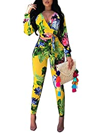 c110a29d784b Women Sexy V Neck Floral Bodycon Long Pant Jumpsuits Rompers Outfit with  Sleeve