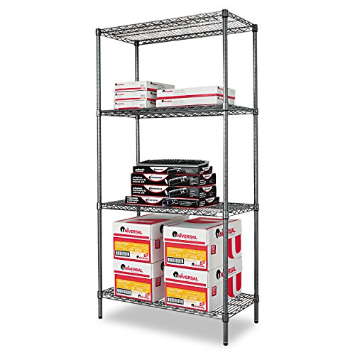 Alera ALESW503618BA Wire Shelving Starter Kit, Four-Shelf, 36w x 18d x 72h, Black (Industrial Wire Shelving Kit)