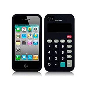 Calculator Silicone Case Cover for Apple iPhone 4 4G 4S Black
