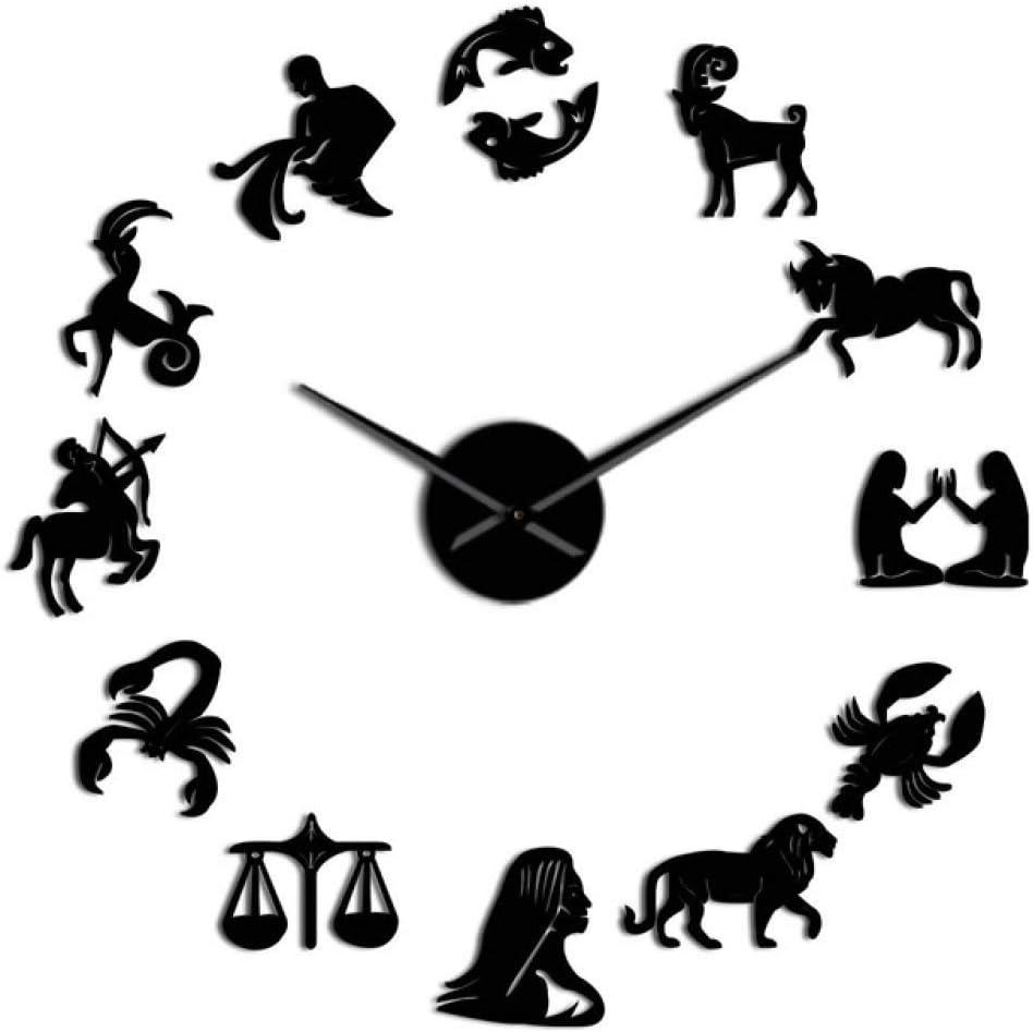 FMXKSW Reloj de Pared Zodiac Signs Wall Art Stickers Giant DIY Frameless Wall Clock Constellation Astrology Hanging Clock Watch Home Decor Fans Gift, 37 Pulgadas