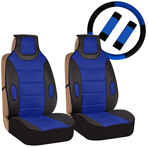 FH GROUP FH-FB202102 Pair set Leatherette Seat Cushion Pads with Fabric 3D Airmesh with Steering Wheel and Seat Belt Pads, Blue / Black