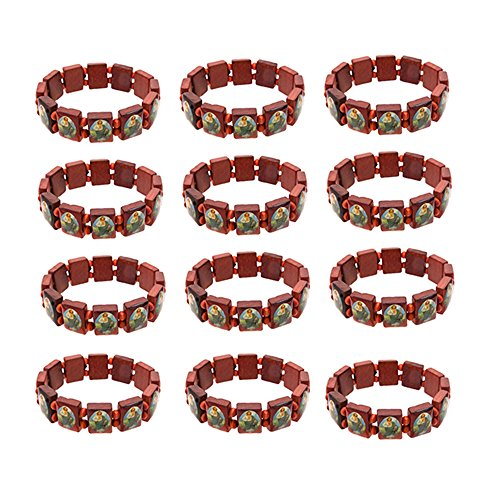FROG SAC Christian Religious Gifts for Men Women Boys and Girls Saint Jude Bracelets 12 PCs Pack - Wood Tile Religious Bracelet Set - Great Party Favors, Gifts, Sunday School Accessories ()