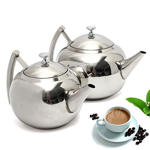 1L Polish Stainless Steel Teapot Coffee Pot with Strainer - 2