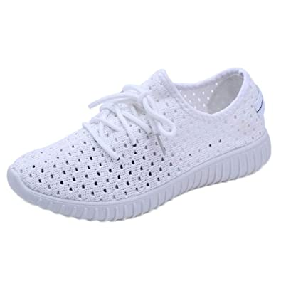 b6386964357dd3 Beautyjourney Baskets Blanches Femme, Tennis Femme Confortable Chaussures  Femme Soiree Chic ExtéRieur Mesh Casual Lace Up Semelles Confortables  Chaussures ...