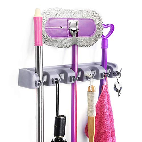 Finefurniture Mop Broom Holder Wall Mounted Kitchen Hanging Garage Utility Tool Organizers and Storage Rack for Commercial Bathroom Laundry Room Closet Gardening, Grey
