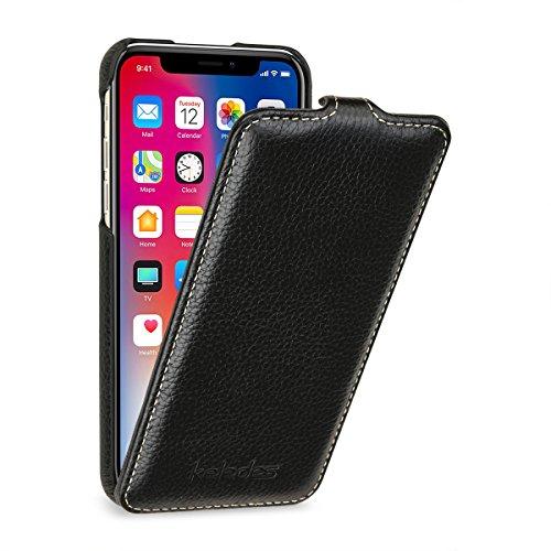 Funda Piel iPhone X,Carcasa iPhone X,Funda cuero iPhone X,Flip case IPhone X, Keledes Apple iPhone X Funda cuero genuino Vertical Flip case Cover Funda Protección para Apple iPhone X Funda Piel,Negro Flip Negro