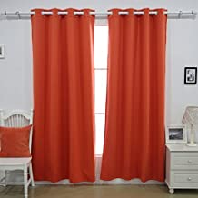"Deconovo CT0266D-1 1 Pair Lined Polar Fleece For Living room Thermal Insulated Blackout Curtains, 52x63"", Orange"
