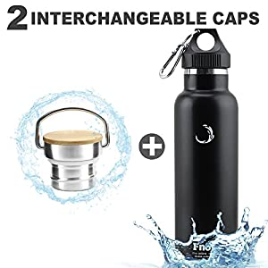 Fnova Insulated Stainless Steel Water Bottle with 2 Caps, Double Walled Vacuum Flask, Standard Mouth, BPA-Free, Cold 24 Hrs / Hot 12 Hrs(balck, 21oz)