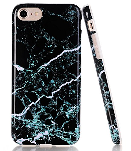 BAISRKE Black Green Marble Design Clear Bumper TPU Soft Rubber Silicone Cover Phone Case Compatible with iPhone 7 (2016) / iPhone 8 (2017) [4.7 inch]