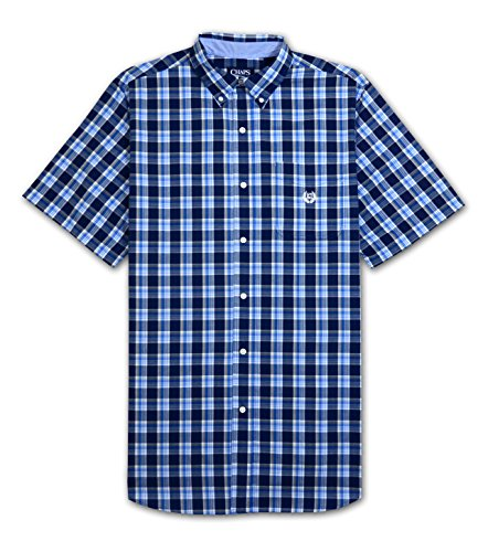 Chaps Big and Tall Easy Care Windfall Plaid Shirt (Navy 2X-T)