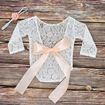 V-Backless Bowknot Romper Bodysuit Hair Band Madjtlqy Newborn Baby Girl Infant Lace Photography Outfits Props